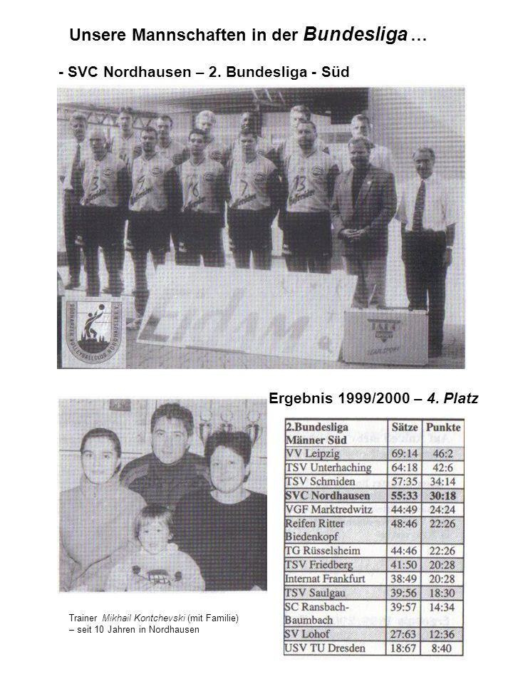 Unsere Mannschaften in der Bundesliga … - SVC Nordhausen – 2. Bundesliga - Süd Ergebnis 1999/2000 – 4. Platz Trainer Mikhail Kontchevski (mit Familie)