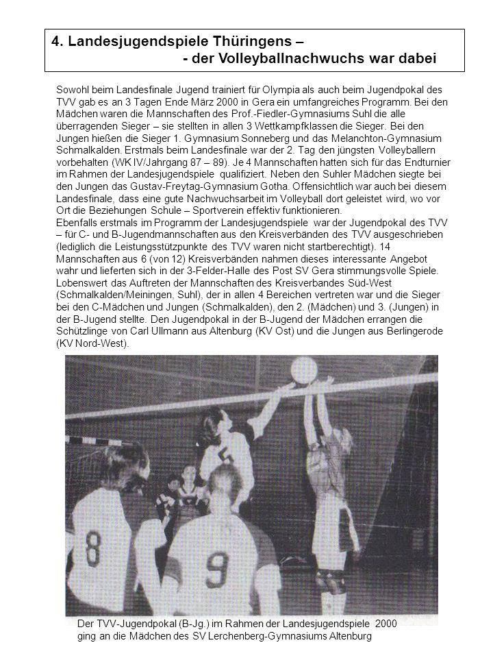 4. Landesjugendspiele Thüringens – - der Volleyballnachwuchs war dabei Sowohl beim Landesfinale Jugend trainiert für Olympia als auch beim Jugendpokal