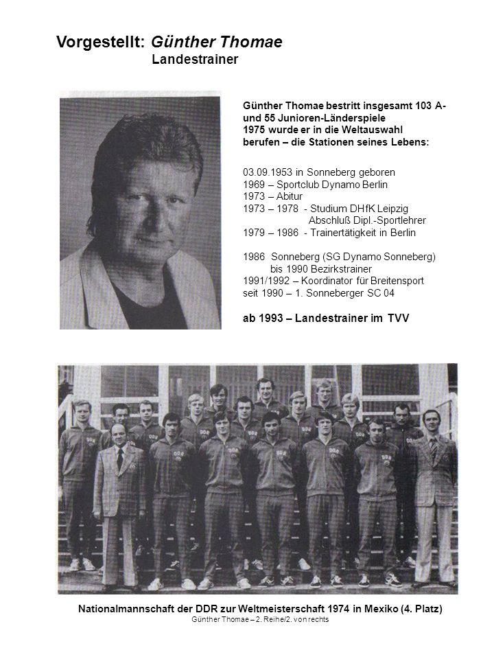 Nationalmannschaft der DDR zur Weltmeisterschaft 1974 in Mexiko (4. Platz) Günther Thomae – 2. Reihe/2. von rechts Vorgestellt: Günther Thomae Landest