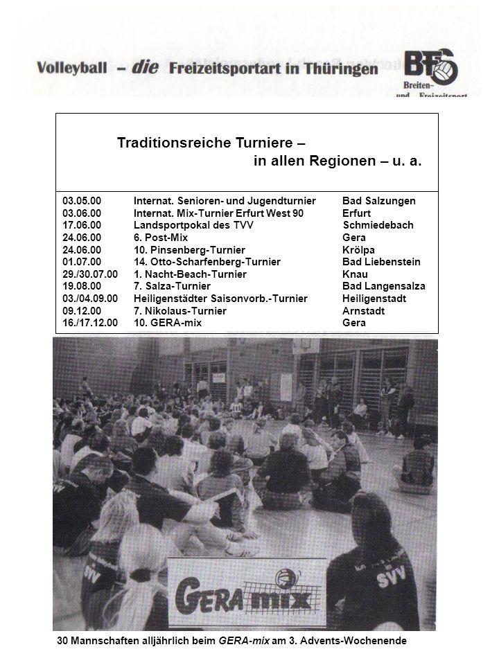 Traditionsreiche Turniere – in allen Regionen – u. a. 03.05.00Internat. Senioren- und JugendturnierBad Salzungen 03.06.00Internat. Mix-Turnier Erfurt