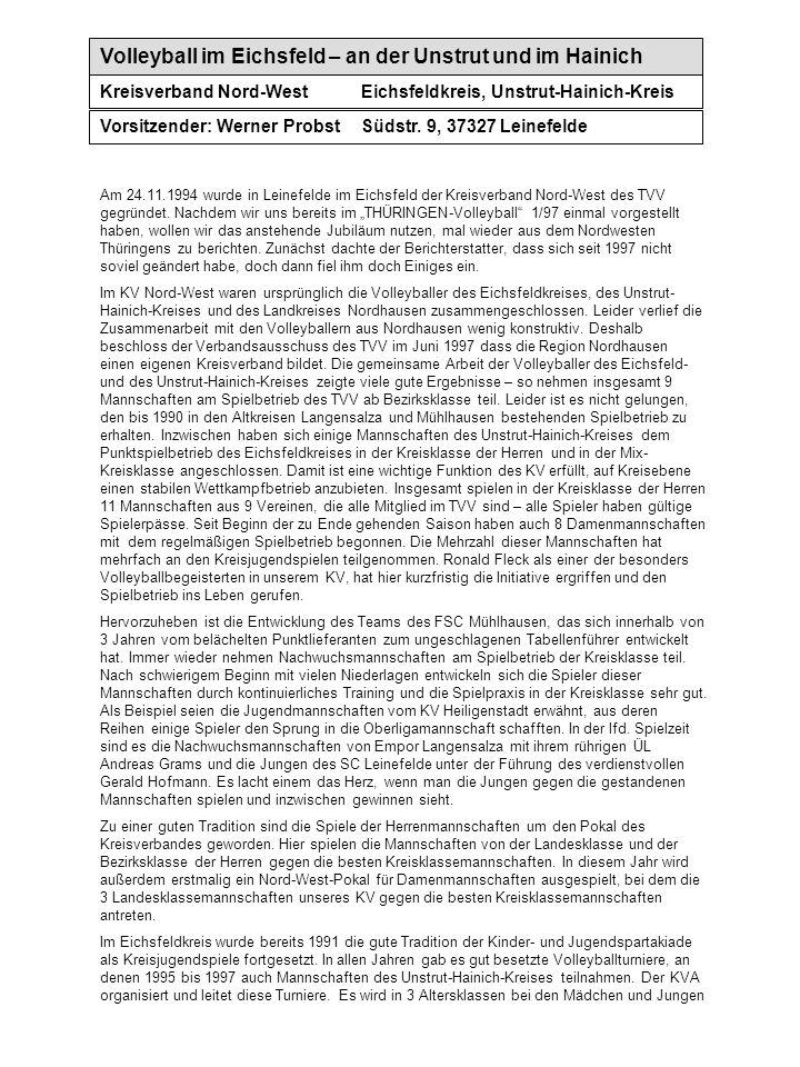 Volleyball im Eichsfeld – an der Unstrut und im Hainich Kreisverband Nord-WestEichsfeldkreis, Unstrut-Hainich-Kreis Vorsitzender: Werner ProbstSüdstr.
