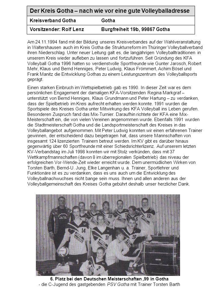 Der Kreis Gotha – nach wie vor eine gute Volleyballadresse Kreisverband GothaGotha Vorsitzender: Rolf LenzBurgfreiheit 19b, 99867 Gotha Am 24.11.1994