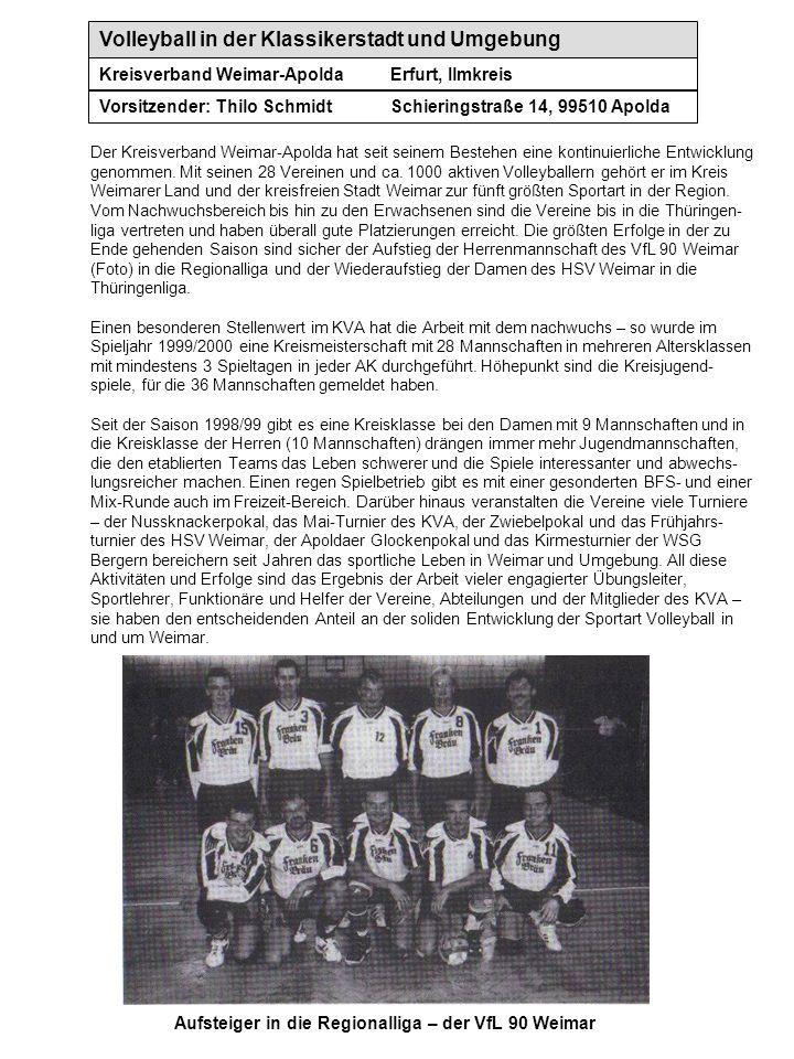 Volleyball in der Klassikerstadt und Umgebung Kreisverband Weimar-ApoldaErfurt, Ilmkreis Vorsitzender: Thilo SchmidtSchieringstraße 14, 99510 Apolda A
