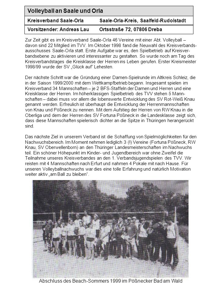 Volleyball an Saale und Orla Kreisverband Saale-OrlaSaale-Orla-Kreis, Saalfeld-Rudolstadt Vorsitzender: Andreas LauOrtsstraße 72, 07806 Dreba Abschlus