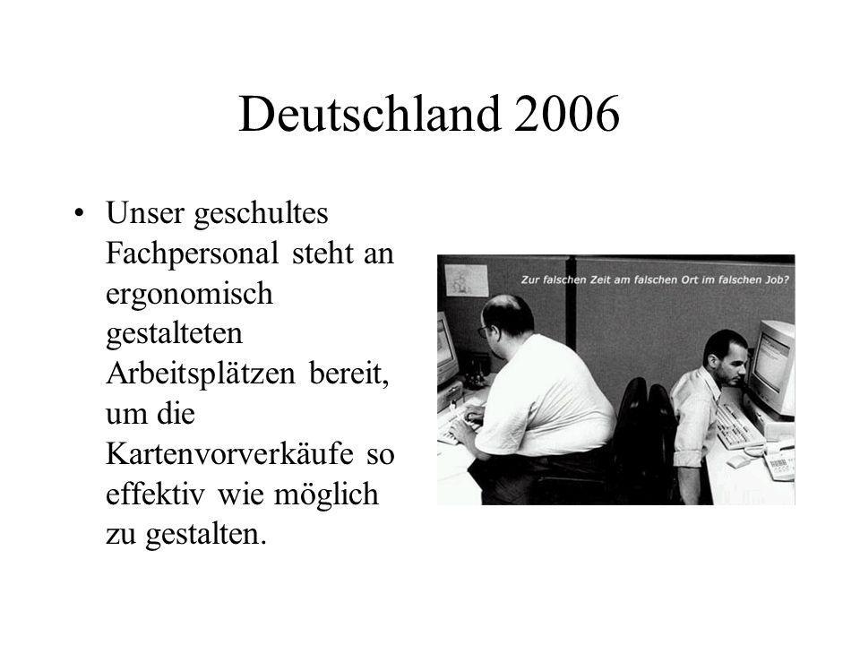 Deutschland 2006 Unser geschultes Fachpersonal steht an ergonomisch gestalteten Arbeitsplätzen bereit, um die Kartenvorverkäufe so effektiv wie möglic