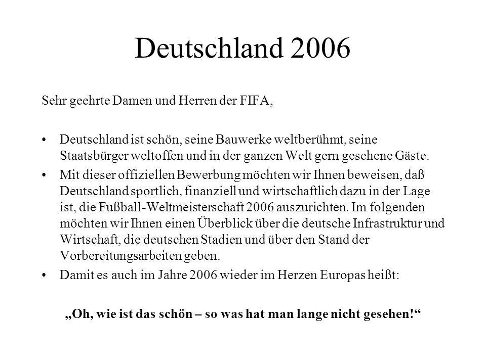 Deutschland 2006 Sehr geehrte Damen und Herren der FIFA, Deutschland ist schön, seine Bauwerke weltberühmt, seine Staatsbürger weltoffen und in der ga