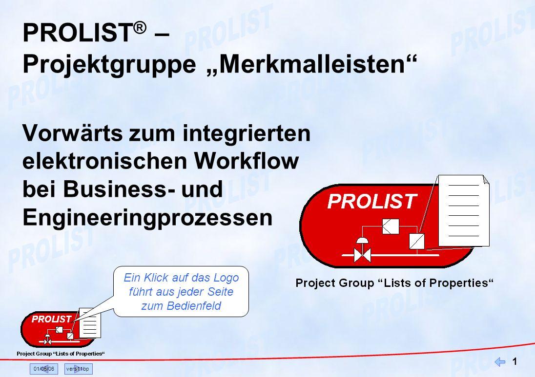 01/05/06vers11bp 1 PROLIST ® – Projektgruppe Merkmalleisten Vorwärts zum integrierten elektronischen Workflow bei Business- und Engineeringprozessen E