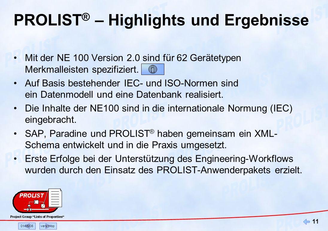 01/05/06vers11bp 11 PROLIST ® – Highlights und Ergebnisse Mit der NE 100 Version 2.0 sind für 62 Gerätetypen Merkmalleisten spezifiziert. Auf Basis be