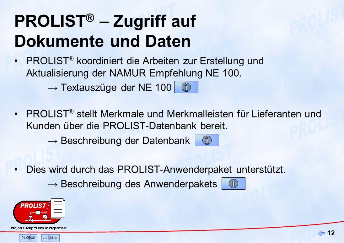 01/05/06vers11bp 12 PROLIST ® – Zugriff auf Dokumente und Daten PROLIST ® koordiniert die Arbeiten zur Erstellung und Aktualisierung der NAMUR Empfehl