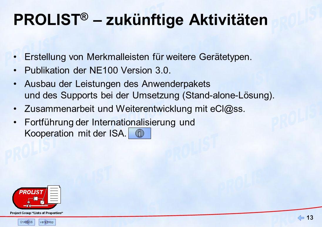 01/05/06vers11bp 13 PROLIST ® – zukünftige Aktivitäten Erstellung von Merkmalleisten für weitere Gerätetypen. Publikation der NE100 Version 3.0. Ausba
