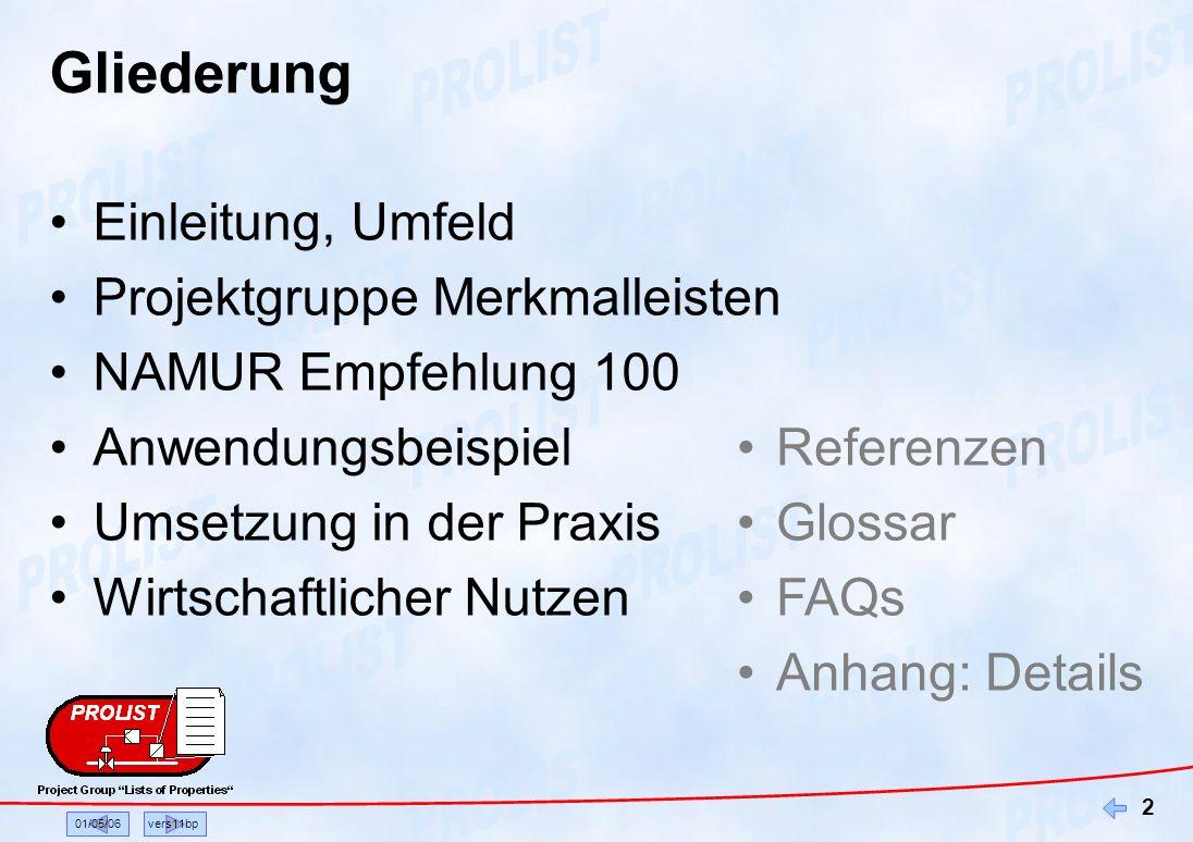 01/05/06vers11bp 2 Gliederung Einleitung, Umfeld Projektgruppe Merkmalleisten NAMUR Empfehlung 100 Anwendungsbeispiel Umsetzung in der Praxis Wirtscha