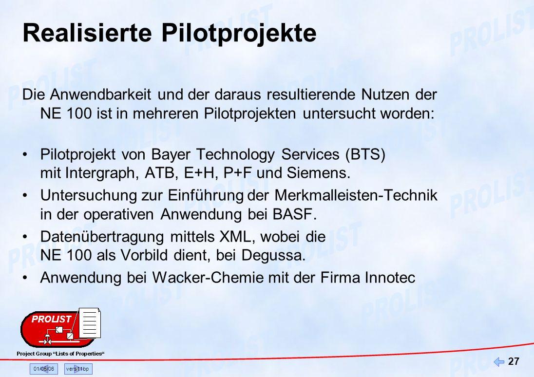 01/05/06vers11bp 27 Realisierte Pilotprojekte Die Anwendbarkeit und der daraus resultierende Nutzen der NE 100 ist in mehreren Pilotprojekten untersuc