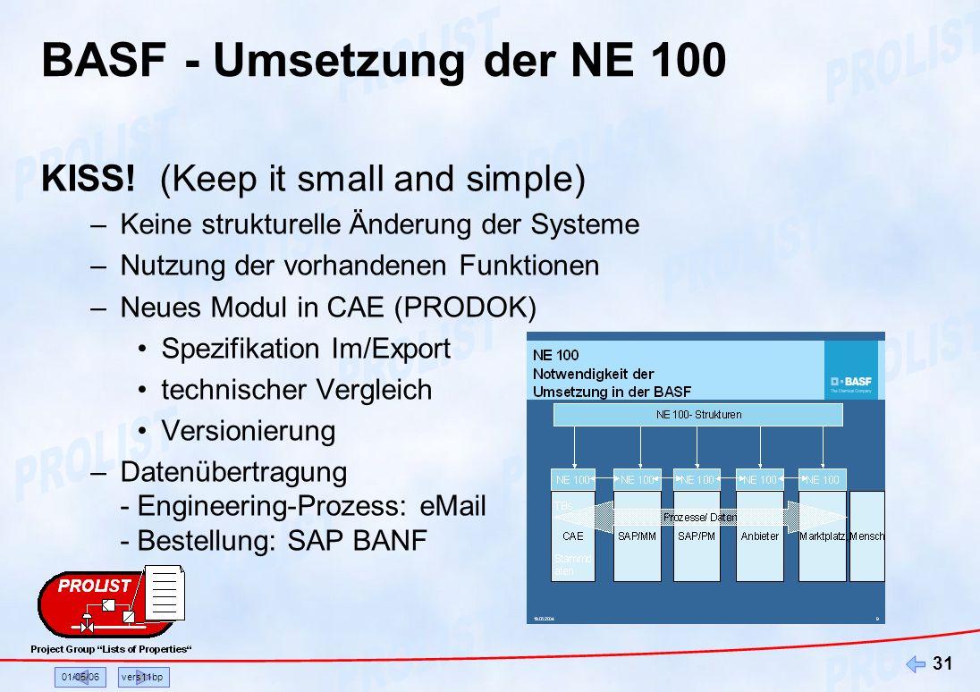 01/05/06vers11bp 31 BASF - Umsetzung der NE 100 KISS! (Keep it small and simple) –Keine strukturelle Änderung der Systeme –Nutzung der vorhandenen Fun