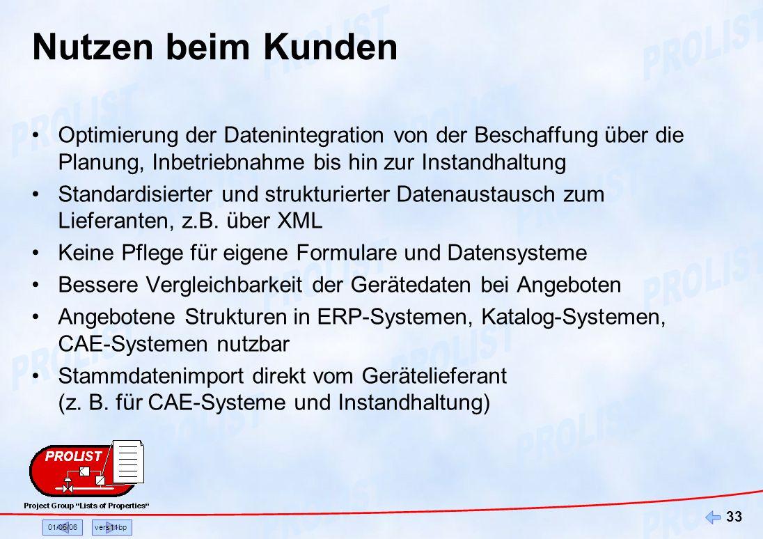 01/05/06vers11bp 33 Nutzen beim Kunden Optimierung der Datenintegration von der Beschaffung über die Planung, Inbetriebnahme bis hin zur Instandhaltun