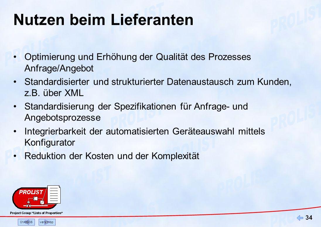 01/05/06vers11bp 34 Nutzen beim Lieferanten Optimierung und Erhöhung der Qualität des Prozesses Anfrage/Angebot Standardisierter und strukturierter Da