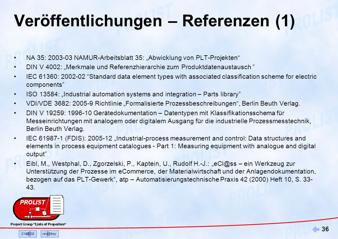01/05/06vers11bp 36 Veröffentlichungen – Referenzen (1) NA 35: 2003-03 NAMUR-Arbeitsblatt 35: Abwicklung von PLT-Projekten DIN V 4002: Merkmale und Re