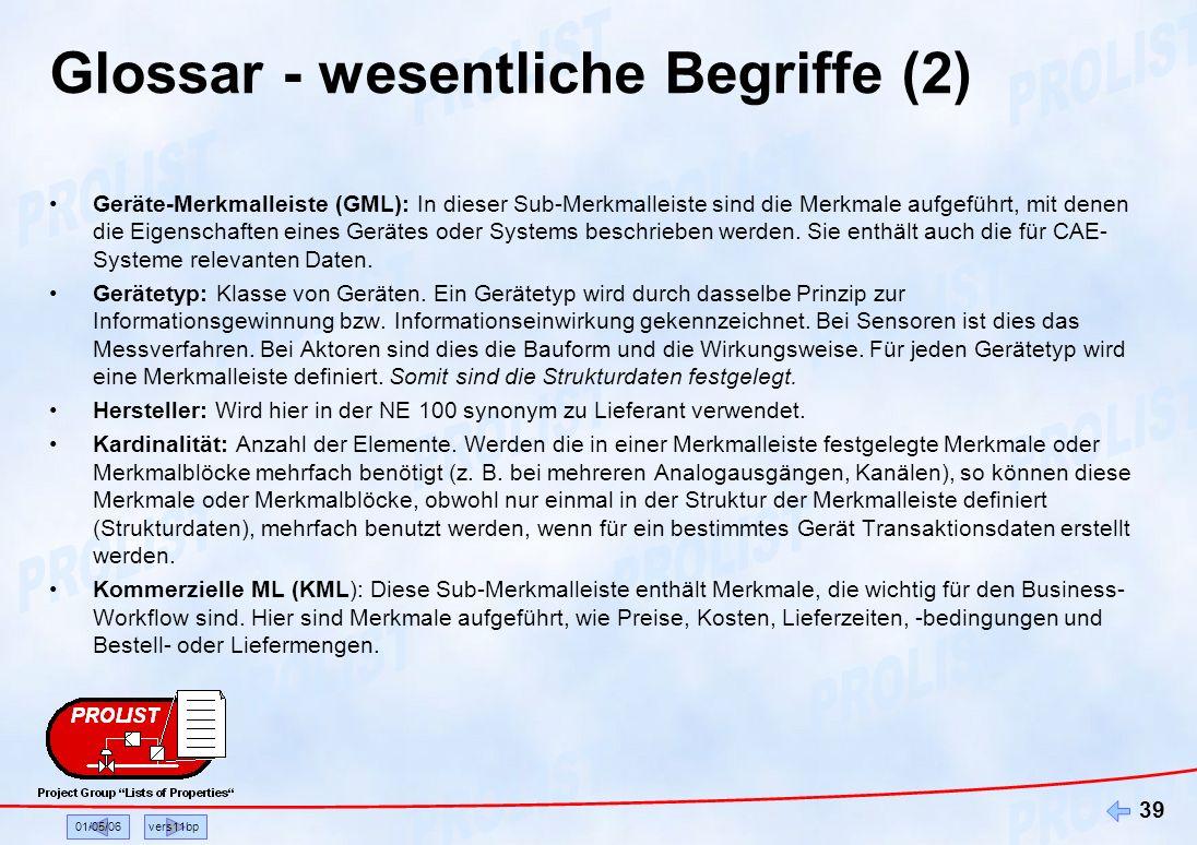 01/05/06vers11bp 39 Glossar - wesentliche Begriffe (2) Geräte-Merkmalleiste (GML): In dieser Sub-Merkmalleiste sind die Merkmale aufgeführt, mit denen