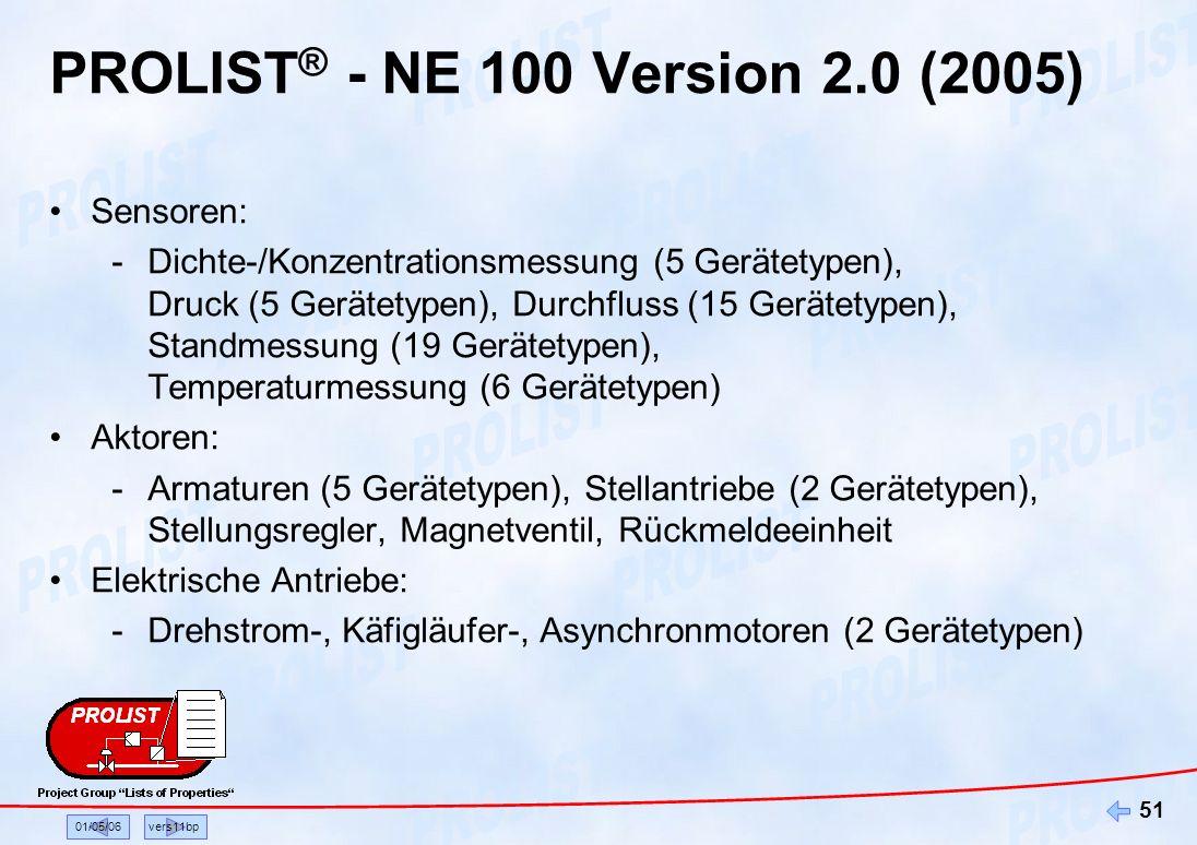 01/05/06vers11bp 51 PROLIST ® - NE 100 Version 2.0 (2005) Sensoren: -Dichte-/Konzentrationsmessung (5 Gerätetypen), Druck (5 Gerätetypen), Durchfluss