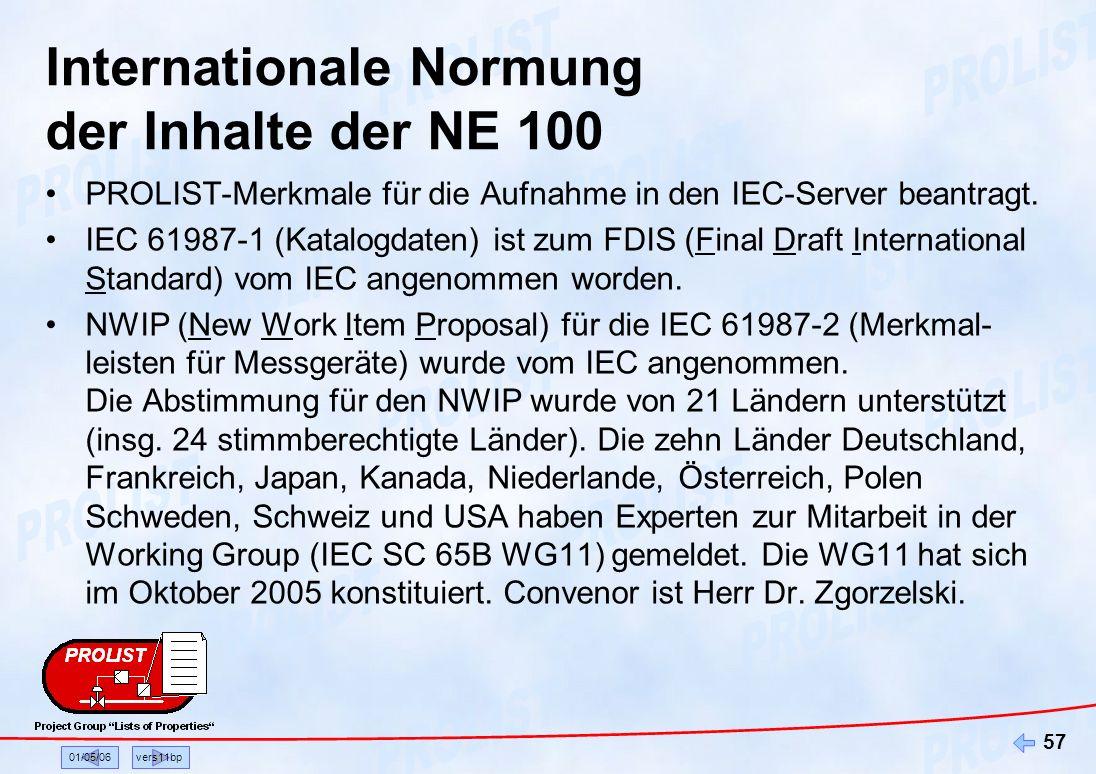 01/05/06vers11bp 57 Internationale Normung der Inhalte der NE 100 PROLIST-Merkmale für die Aufnahme in den IEC-Server beantragt. IEC 61987-1 (Katalogd