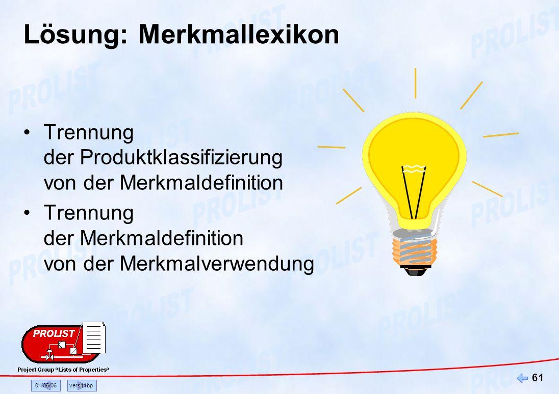 01/05/06vers11bp 61 Lösung: Merkmallexikon Trennung der Produktklassifizierung von der Merkmaldefinition Trennung der Merkmaldefinition von der Merkma