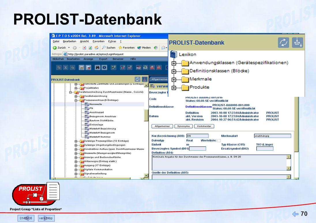 01/05/06vers11bp 70 PROLIST-Datenbank