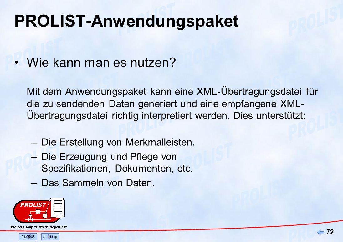 01/05/06vers11bp 72 PROLIST-Anwendungspaket Wie kann man es nutzen? Mit dem Anwendungspaket kann eine XML-Übertragungsdatei für die zu sendenden Daten