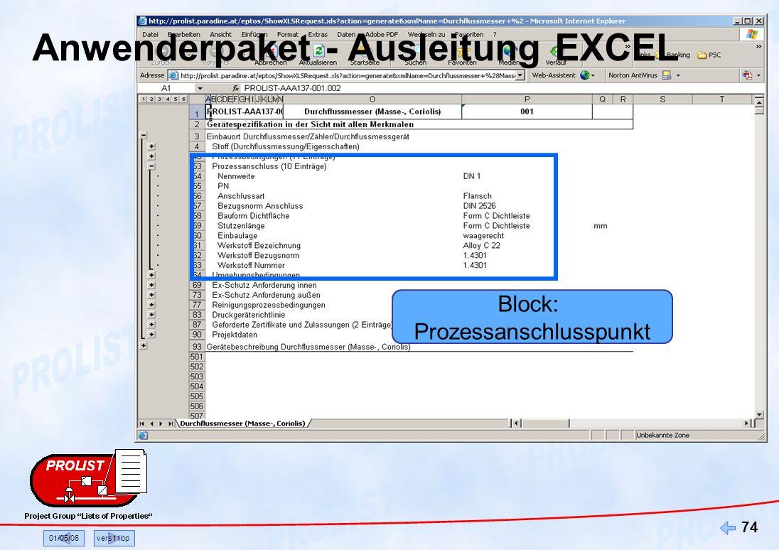 01/05/06vers11bp 74 Block: Prozessanschlusspunkt Anwenderpaket - Ausleitung EXCEL