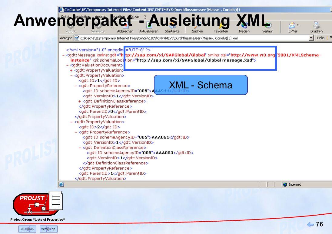 01/05/06vers11bp 76 XML - Schema Anwenderpaket - Ausleitung XML