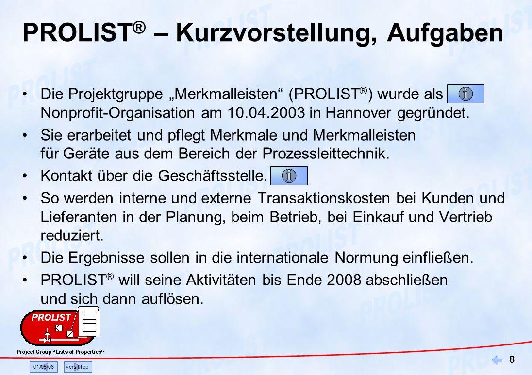 01/05/06vers11bp 8 PROLIST ® – Kurzvorstellung, Aufgaben Die Projektgruppe Merkmalleisten (PROLIST ® ) wurde als Nonprofit-Organisation am 10.04.2003