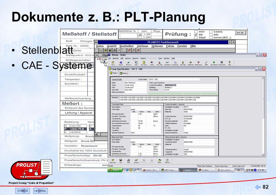 01/05/06vers11bp 82 Dokumente z. B.: PLT-Planung Stellenblatt CAE - Systeme