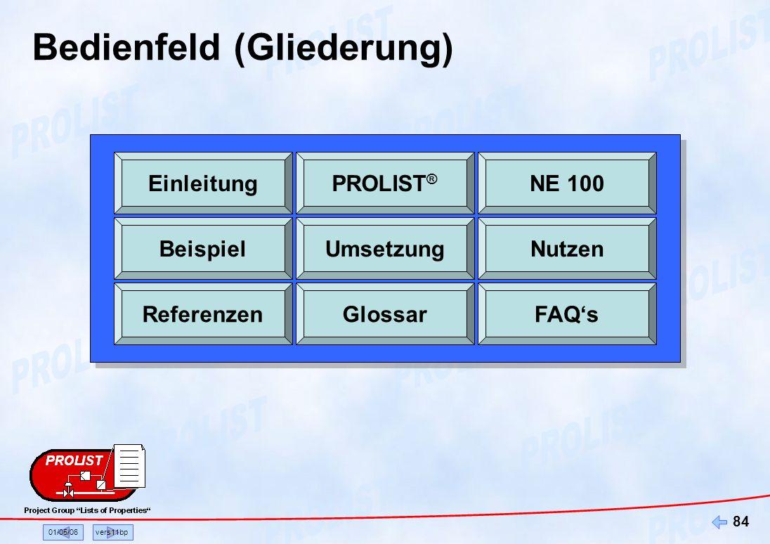 01/05/06vers11bp 84 Bedienfeld (Gliederung) EinleitungPROLIST ® NE 100 BeispielUmsetzungNutzen ReferenzenGlossarFAQs