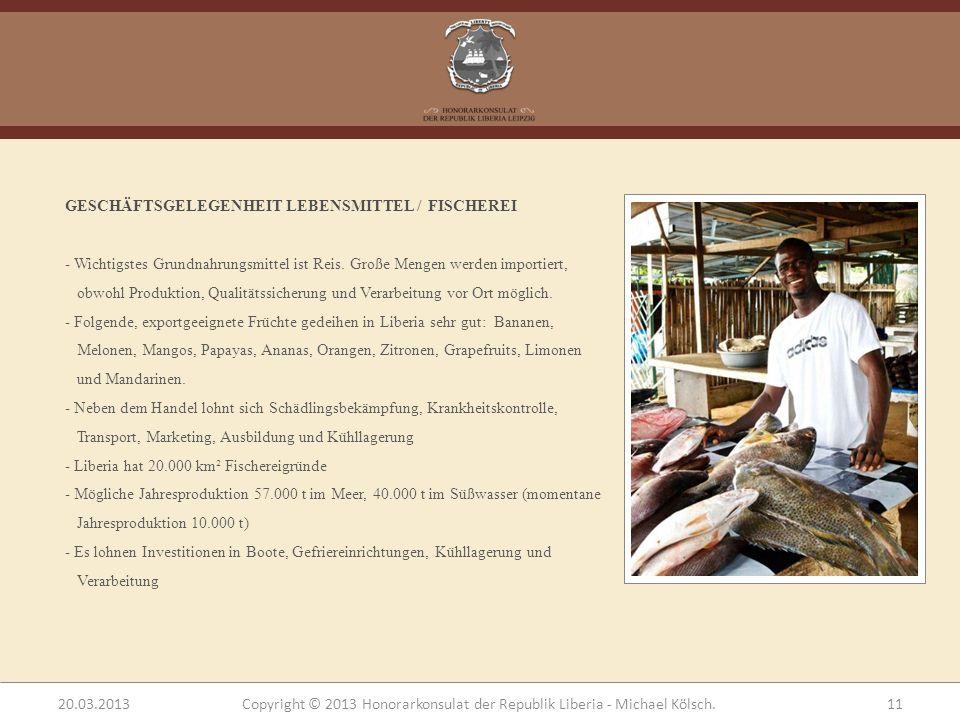 GESCHÄFTSGELEGENHEIT LEBENSMITTEL / FISCHEREI - Wichtigstes Grundnahrungsmittel ist Reis. Große Mengen werden importiert, obwohl Produktion, Qualitäts