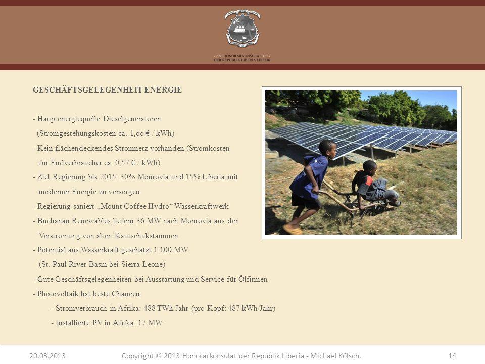 GESCHÄFTSGELEGENHEIT ENERGIE - Hauptenergiequelle Dieselgeneratoren (Stromgestehungskosten ca. 1,oo / kWh) - Kein flächendeckendes Stromnetz vorhanden