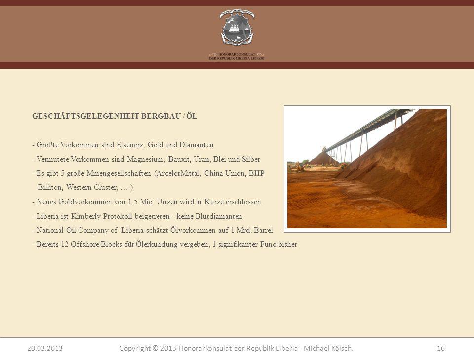 GESCHÄFTSGELEGENHEIT BERGBAU / ÖL - Größte Vorkommen sind Eisenerz, Gold und Diamanten - Vermutete Vorkommen sind Magnesium, Bauxit, Uran, Blei und Si