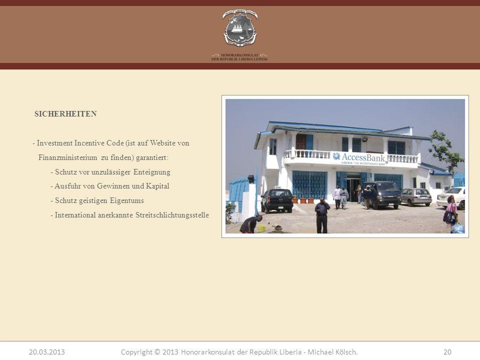 SICHERHEITEN - Investment Incentive Code (ist auf Website von Finanzministerium zu finden) garantiert: - Schutz vor unzulässiger Enteignung - Ausfuhr