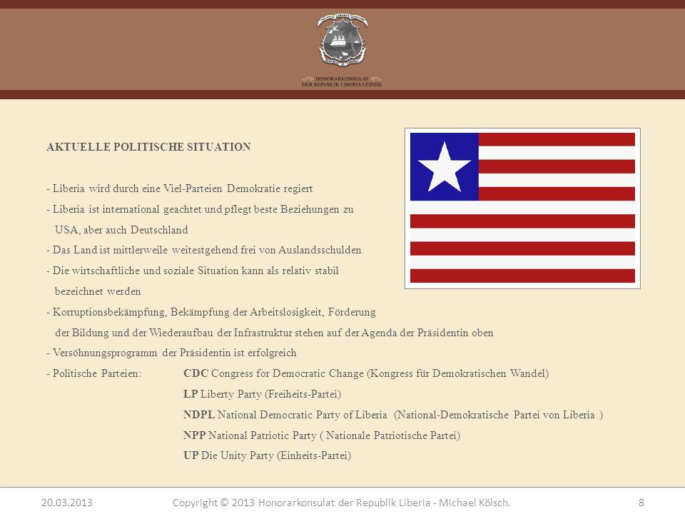 KORRUPTION - Bekämpfung der Korruption steht auf Agenda der Präsidentin ganz oben - Da, wo sie noch immer existiert, lähmt sie die Entwicklung, wie anderswo - Präsidentin wird zu Unrecht Vetternwirtschaft vorgeworfen 20.03.2013Copyright © 2013 Honorarkonsulat der Republik Liberia - Michael Kölsch.19