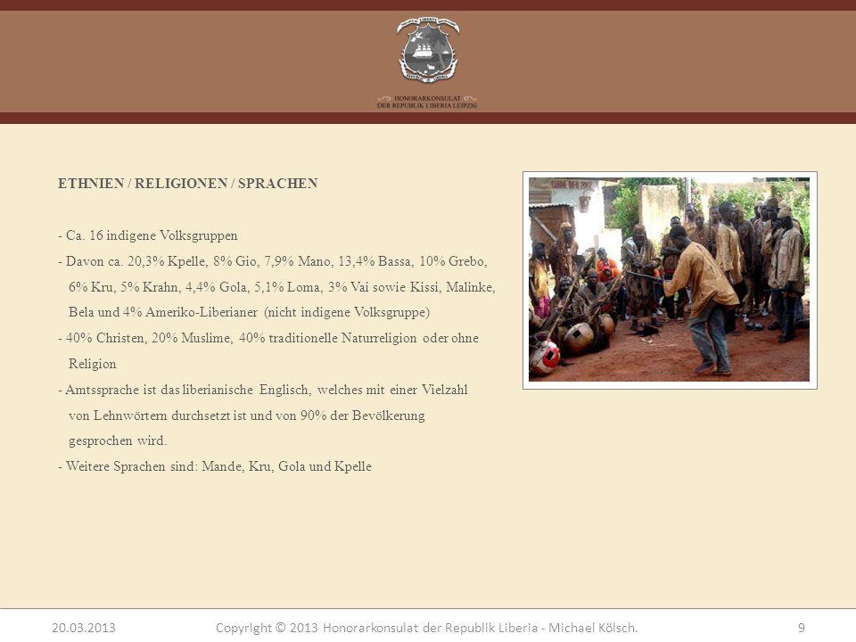 ETHNIEN / RELIGIONEN / SPRACHEN - Ca. 16 indigene Volksgruppen - Davon ca. 20,3% Kpelle, 8% Gio, 7,9% Mano, 13,4% Bassa, 10% Grebo, 6% Kru, 5% Krahn,