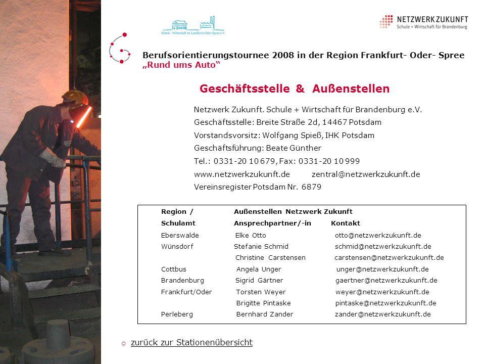 Netzwerk Zukunft. Schule + Wirtschaft für Brandenburg e.V. Geschäftsstelle: Breite Straße 2d, 14467 Potsdam Vorstandsvorsitz: Wolfgang Spieß, IHK Pots