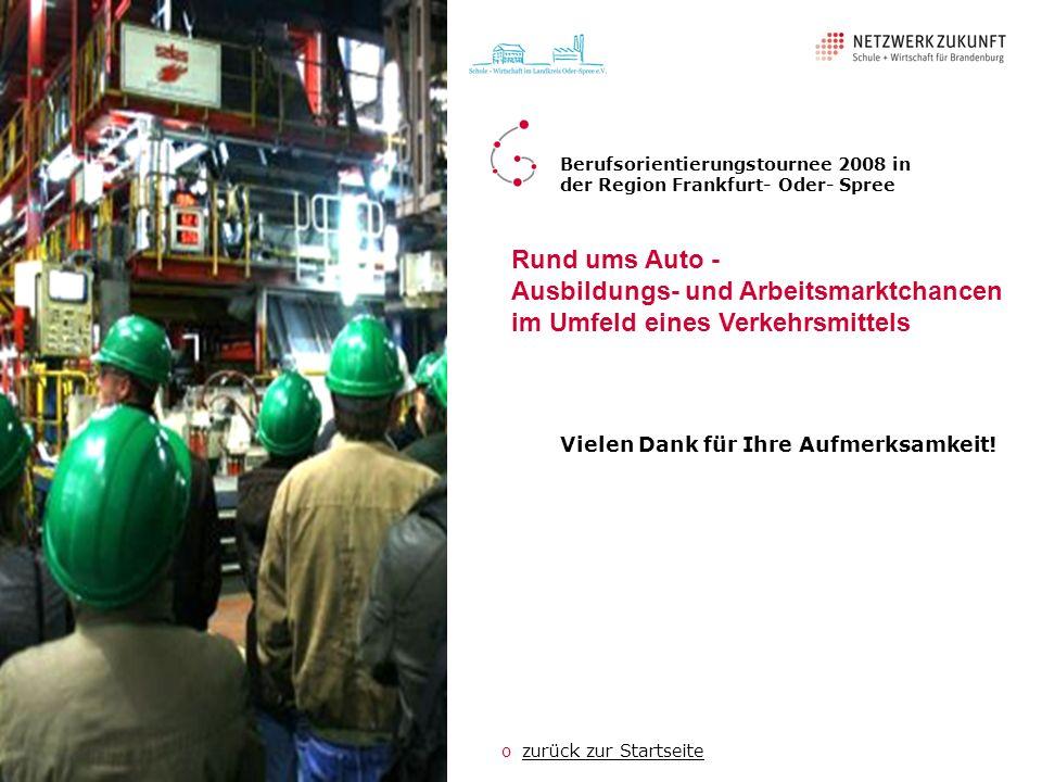 Vielen Dank für Ihre Aufmerksamkeit! Berufsorientierungstournee 2008 in der Region Frankfurt- Oder- Spree ozurück zur Startseitezurück zur Startseite