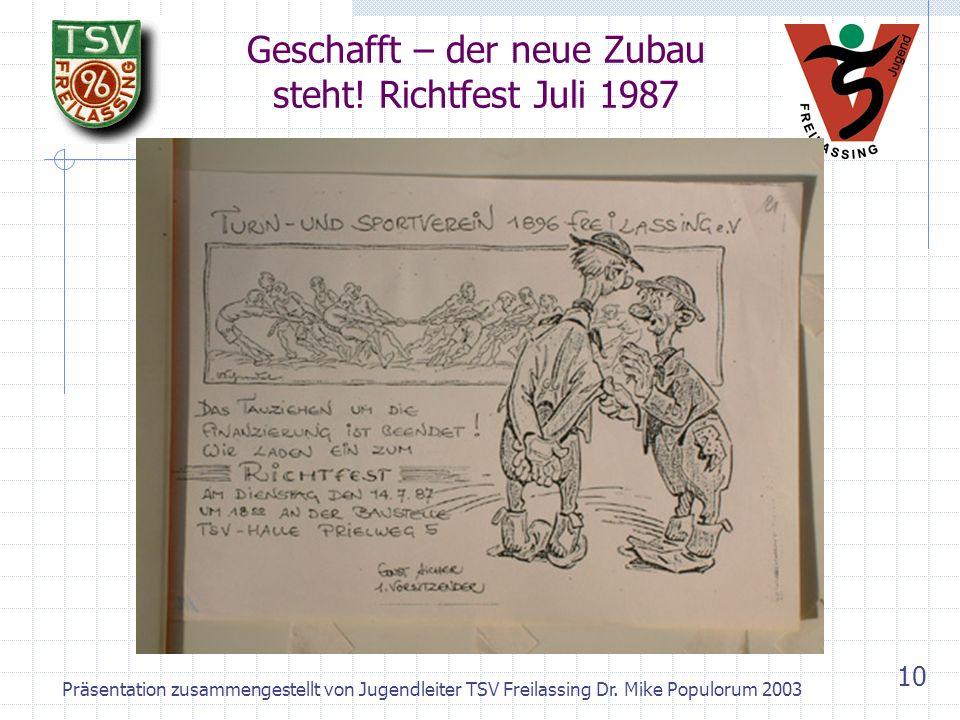 Präsentation zusammengestellt von Jugendleiter TSV Freilassing Dr. Mike Populorum 2003 9 Handball - Bayerischer Meister 1950