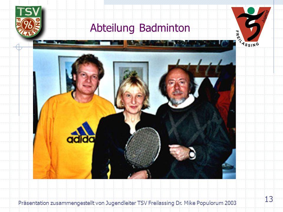 Präsentation zusammengestellt von Jugendleiter TSV Freilassing Dr. Mike Populorum 2003 12 TSV Freilassing heute - Abteilungen Badminton Basketball Boo
