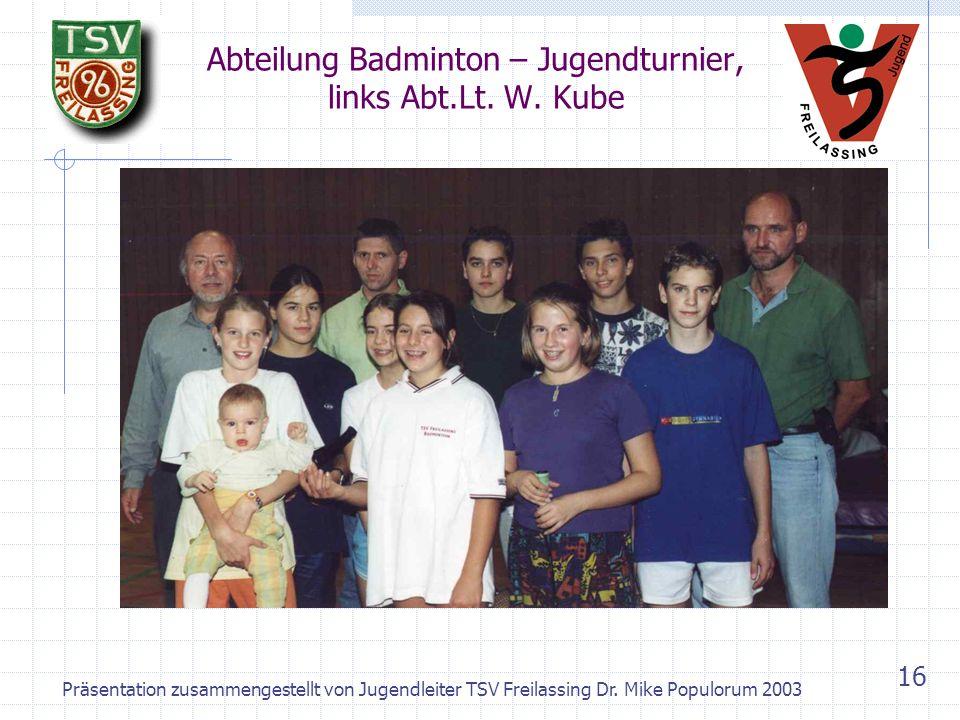 Präsentation zusammengestellt von Jugendleiter TSV Freilassing Dr. Mike Populorum 2003 15 Abteilung Badminton – Nikolofeier der Kleinen