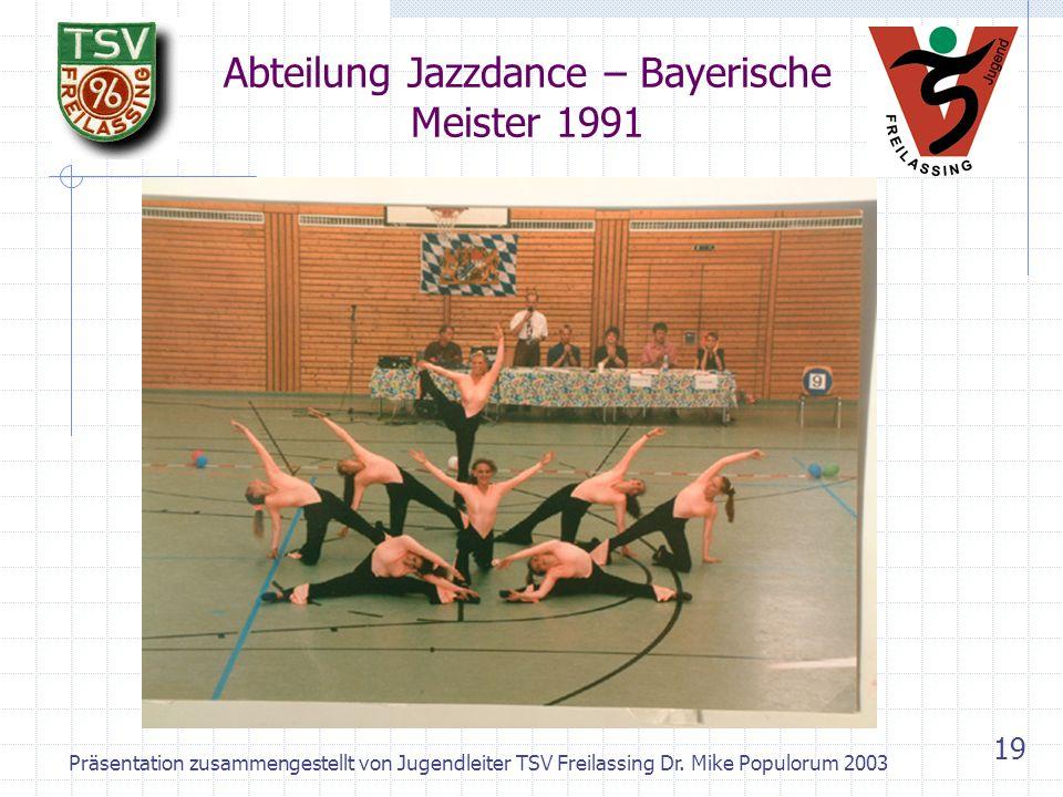 Präsentation zusammengestellt von Jugendleiter TSV Freilassing Dr. Mike Populorum 2003 18 Abteilung Basketball