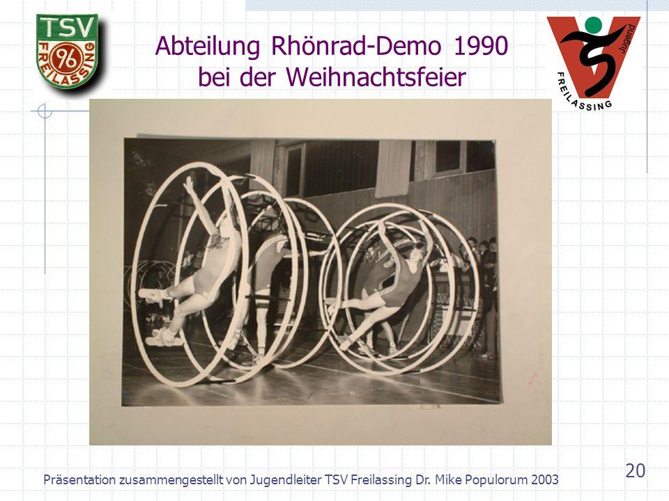 Präsentation zusammengestellt von Jugendleiter TSV Freilassing Dr. Mike Populorum 2003 19 Abteilung Jazzdance – Bayerische Meister 1991