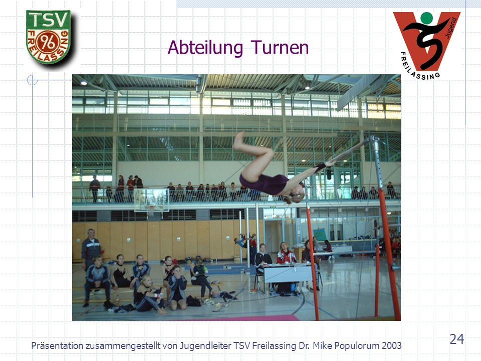 Präsentation zusammengestellt von Jugendleiter TSV Freilassing Dr. Mike Populorum 2003 23 Abteilung Turnen – Die Jugend beim Gauentscheid