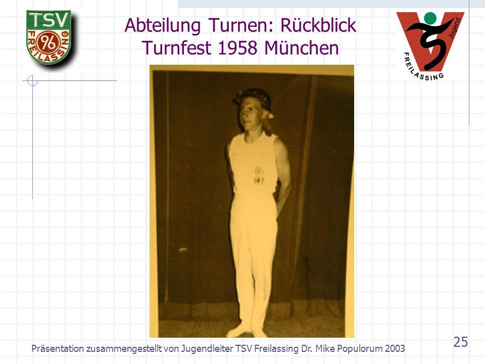 Präsentation zusammengestellt von Jugendleiter TSV Freilassing Dr. Mike Populorum 2003 24 Abteilung Turnen