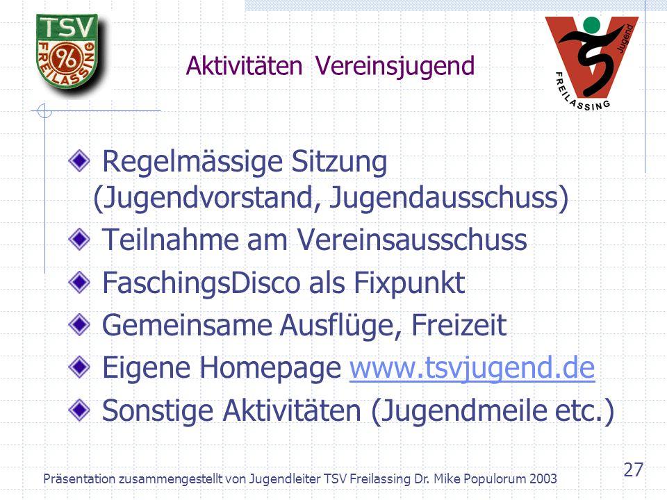Präsentation zusammengestellt von Jugendleiter TSV Freilassing Dr. Mike Populorum 2003 26 Vereinsjugend – Der Vorstand