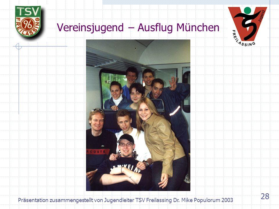 Präsentation zusammengestellt von Jugendleiter TSV Freilassing Dr. Mike Populorum 2003 27 Aktivitäten Vereinsjugend Regelmässige Sitzung (Jugendvorsta