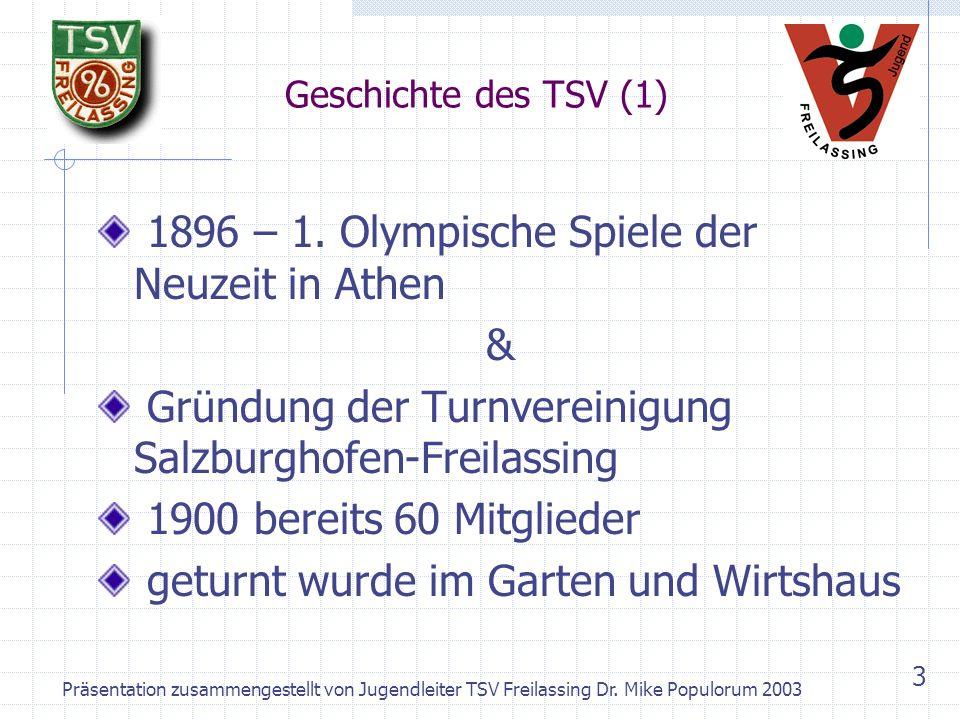 Präsentation zusammengestellt von Jugendleiter TSV Freilassing Dr. Mike Populorum 2003 2 TSV 1896 Freilassing e.V. Ein Verein stellt sich vor – Kurzpr
