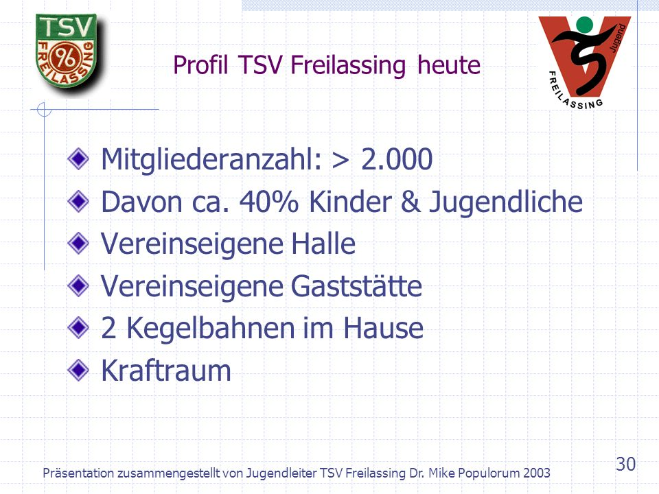 Präsentation zusammengestellt von Jugendleiter TSV Freilassing Dr. Mike Populorum 2003 29 Vereinsjugend – Beim Kegeln